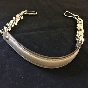 "COACH Gray/Silver Leather 24"" Replacement Strap"